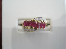 14K Yellow Gold Ladies Ruby And Diamond Fashion Ring .05ct