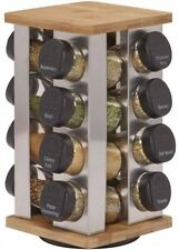 Kamenstein Warner 16-Jar Revolving Kitchen Spice Rack Stainless Steel and Bamboo
