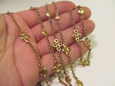*Long Matte Gold Tone Station Necklace Round Disks & Medallions 60""