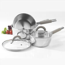Salter Colour Collection Stainless Steel 3 Piece Pan Set Saucepan & Glass Lids