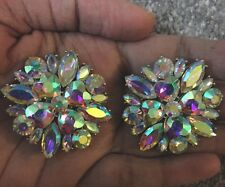 "1.25"" Big Clip On Stud Aurora Borealis Ab Silver Clear Pageant Crystal Earrings"