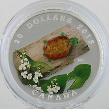 Canada 2015 $20 Venetian Glass Turtle by Broadleaf Arrowhead Flower 1 oz Silver