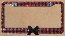 Red Rhinestone License Plate Frame w/ Black Bling Bow Woman Girl Car Accessories