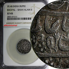 India Princely States BHOPAL . SHAH ALAM II Silver Year 48 RUPEE NGC XF45 RARE