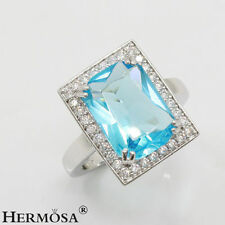 75% OFF Pure Aqua Blue Topaz Perfect Crystal 925 Sterling Silver Gems Ring s. 6