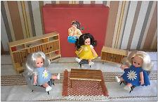 Vintage legno salone per bambole Furga Lisa e Lucia e Lola