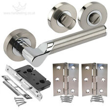 New Bathroom Internal Door Pack Duo Chrome/Satin Handles, Lock, Turn & Hinges