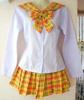Sailor-Moon Schulmädchen-Uniform China/Cosplay Kostüm gelb/orange  Gr.XS/S/M/L