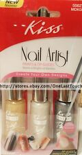 **KISS*3pc Paint Polish NAIL ARTIST Set+Faux JewelGOLD+PEARL WHITE+SILVER 55627