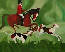 ANDRE DLUHOS English fox hunt hounds horse master red coat ORIGINAL Oil Painting