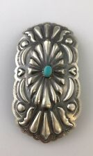 Native American Sterling Silver Navajo Turquoise Old Look Stamp Hair Barrette