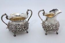 Stieff Rose Sterling Silver Repousse Sugar and Creamer Set