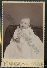 Cabinet Photo-Cute Baby in Long Gown (Close Up) Leadville, Colorado-Grove Studio
