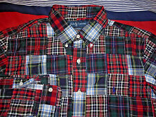 Mens - RALPH LAUREN POLO - Button Down PATCHWORK Shirt PLAID Red Green L Large