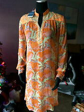 ANTIK BATIK CHRISTOPHE SAUVAT 100% SILK JEWELED SHEER DRESS COVER-UP Sz S/ M NWT