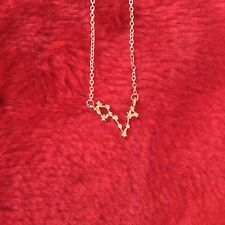 FREE GIFT BAG Gold Plated PISCES Zodiac Sign Astrology Necklace Constellation