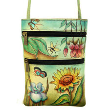 Anuschka Leather Small Travel Companion Bag Handpainted Floral Dream Garden