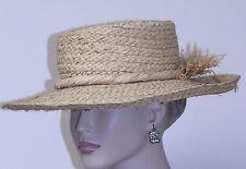 "vintage WOMAN'S HAT UNBRANDED WIDE BRIM natural straw RAFFIA band 21 1/2"""
