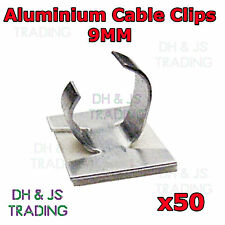 50 x 9mm Aluminium Cable Clips Self Adhesive Cable Clip Wire Sleeving Conduit
