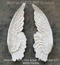 "Angel Wings Aged wall sculpture statue plaque 11"" set pair"