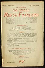 La Nouvelle revue française 1er décembre 1953 : Ramuz, Pauwels, Tardieu... TBE