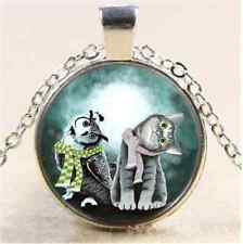 Cute Owl And Cat Photo Cabochon Glass Tibet Silver Chain Pendant  Necklace