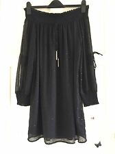 Zara Negro Hombro Bardot Vestido Talla Pequeña