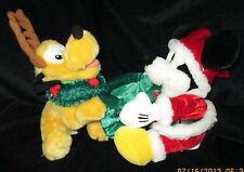 """Mickey Mouse & Pluto with Antlers & wreath PLUSH DISNEY WORLD CHRISTMAS, 11""""tall"""