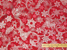 Holiday Flourish Christmas Snowflake Red Kaufman Fabric by the 1/2 Yard #15762-3