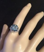 VS2 Huge 3.79CT   Moissanite & Natural Diamonds Accent Silver Filigree  Ring