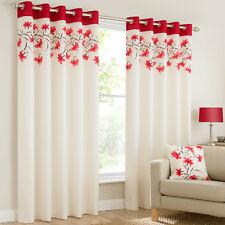 RING TOP FULLY LINED PAIR EYELET READY MADE CURTAINS LILY RED BLACK CREAM BLUE