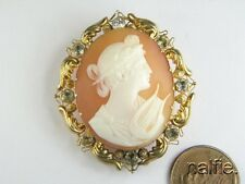 ANTIQUE 15K GOLD PASTE FINELY CARVED SHELL ORPHEUS & LYRE CAMEO BROOCH c1800s