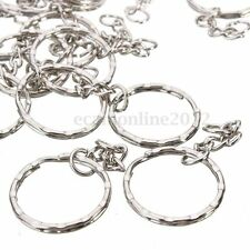 50X Keyring Blanks 55mm Silver Tone Keychain Key Fob Split Rings 4 Link Chain