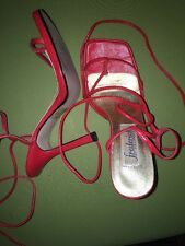 Fredericks Of Hollywood Heels Size 6 Red Wrap Around Ankle Sandals