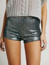 NEW Free People Katrin Sequined Shorts In Silver Size XS 0 2