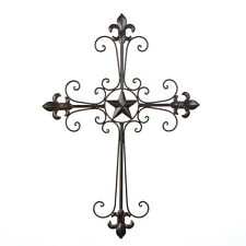 Wrought Iron Fleur De Lis Wall Cross Home Decor Wall Art NEW Christian Religious