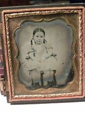 0260. Ca 1850's Ambrotype Photo Sweet Young Downeast Girl in Pinafore Maine ME