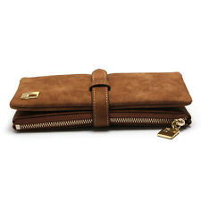 Women Lady Coffee Leather Clutch Wallet Long PU Card Holder Zipper Purse Handbag