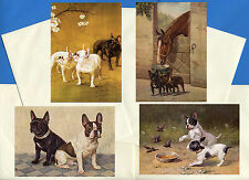 FRENCH BULLDOG PACK OF 4 VINTAGE STYLE DOG PRINT GREETINGS NOTE CARDS #2