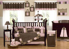 UNIQUE DISCOUNT BROWN AND PINK BOUTIQUE DESIGNER 9pc BABY GIRL CRIB BEDDING SET