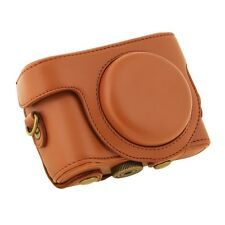 Brown Deluxe Leather camera case bag Grip for Sony Cyber-Shot DSC-HX50V HX50