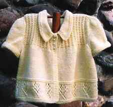 Puff Sleeve Baby Cardigan with Lace Border 6 - 18 mths 4 ply Knitting Pattern