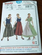Burda Pattern 7870 German Dirndl Folkwear Dress Costume Sz 12-30