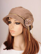 M265 Khaki Beauty Flower Cotton Hat Round Brim Cap Cloche Summer Autumn Women's