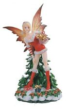 "12"" Inch Red Christmas Fairy Standing w/ Gift & Tree Statue Figure Fantasy"
