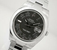 Rolex DATEJUST II 116300 Mens Steel Oyster Domed Bezel Black Roman Dial 41MM