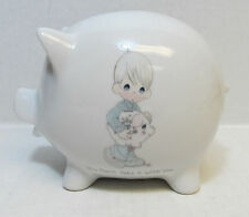 1986 Precious Moments Porcelain Pig Bank You Can't Take it With You - no box