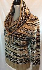 KENSIE Brown Multicolors Nordic Fair Isle Mock Turtle Neck Knit Sweater S