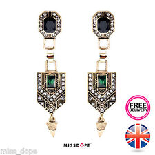 NEW Geometric Vintage Gold Green Earrings Aztec Dangle Womens Ladies Egyptian UK