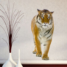 WALKING TIGER JUNGLE ANIMAL ZOO LOUNGE HALLWAY WALL STICKER VINYL TRANSFER MURAL